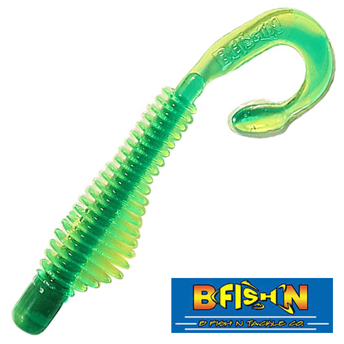 B Fish & Tackle Moxi Ringie 4'' #Chartreuse/Green Core (8 шт в уп)
