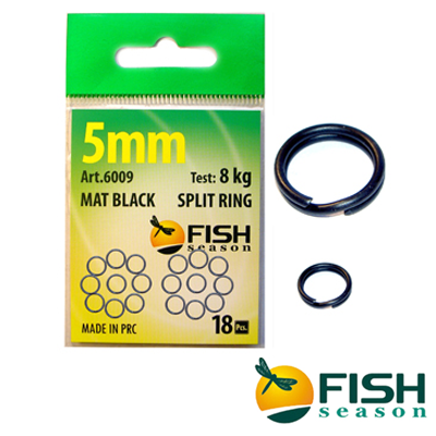 6009 Mat Black Split Ring Заводные кольца Fish Season 6009 Mat Black Split Ring d8mm/20 kg (12 шт в уп)