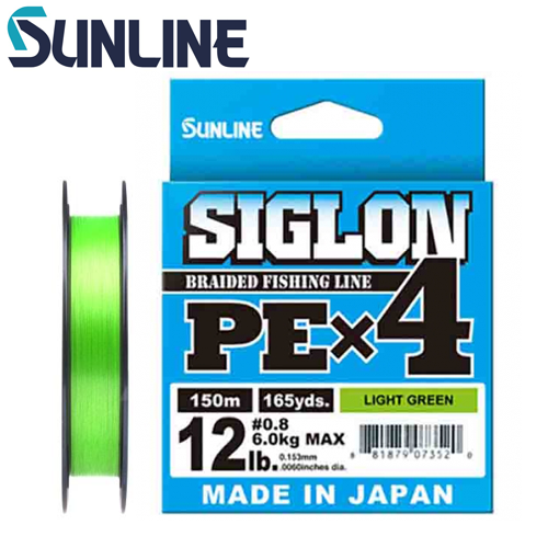 Шнур Sunline Siglon PE X4 150m #3 0.296mm/22.0kg (Light Green)