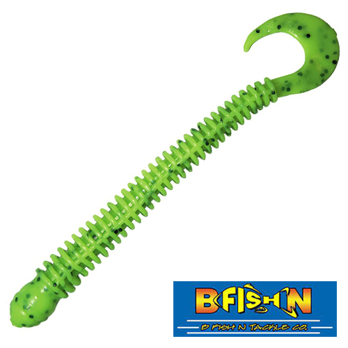 B Fish & Tackle Ringworm 4'' #Fluorescent Chartreuse Pepper (12 шт в уп)