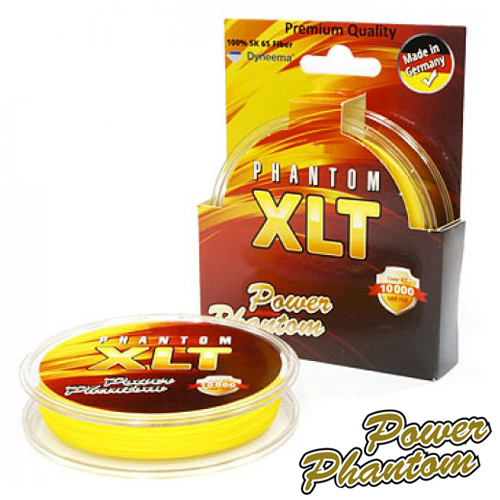 Шнур Power Phantom XLT 4x Yellow 120m #0,18mm/13,2kg (желтая)