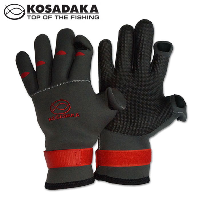 Fishing Gloves SK70 Перчатки неопреновые Kosadaka Sharks Fishing Gloves SK70-XL #серый
