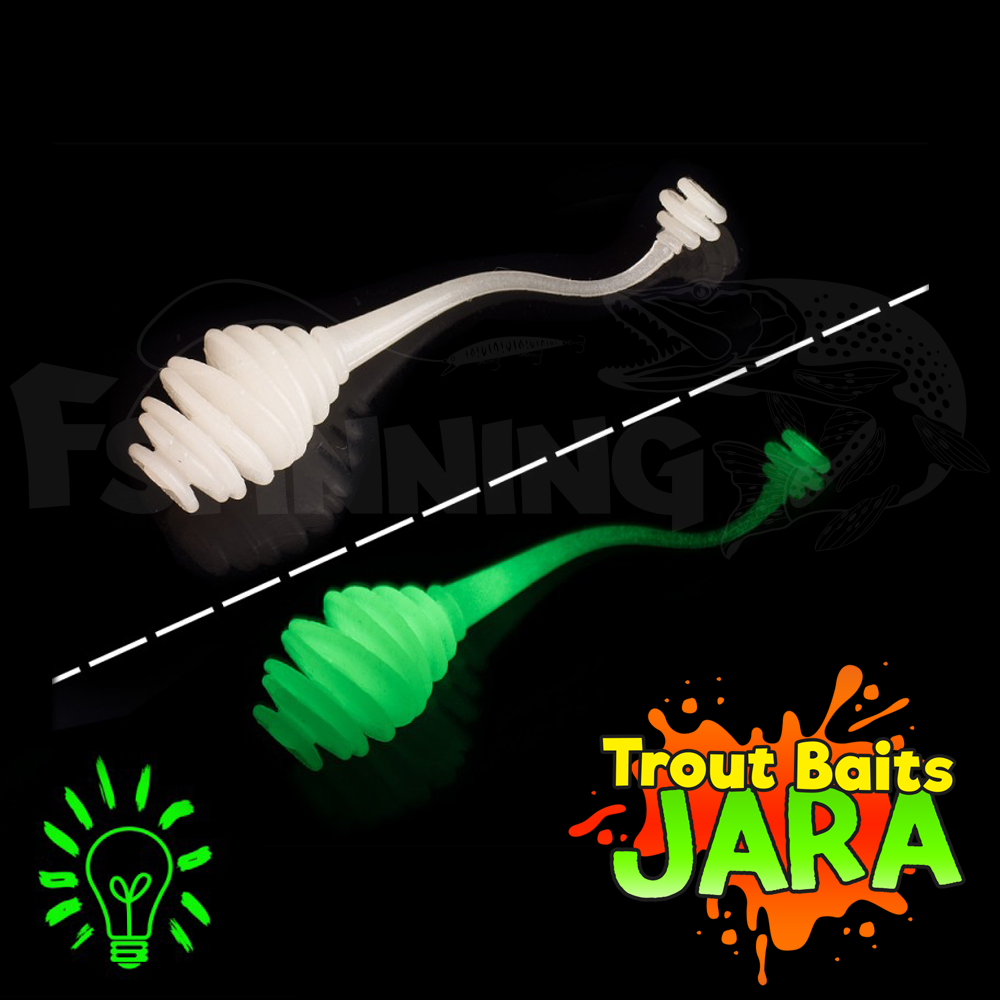 Kasper Worm 60mm (сыр) Мягкие приманки Trout Baits Jara Kasper Worm 60mm (сыр) #K_33glow (9 шт в уп)
