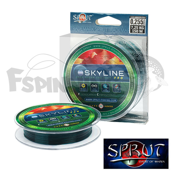 Леска Sprut Skyline Fluorocarbon Composition Evo Tech Pro Dark Green 150m #0.255mm/7.25kg  - купить в интернет-магазине в Москве