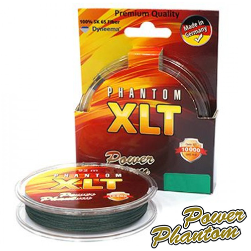 Шнур Power Phantom XLT 4x Green 120m #0,16mm/12,4kg (зеленая)